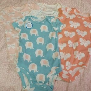 Carters 5 piece onesie set - butterflies, elephant